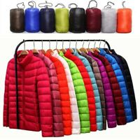 Women's Packable Hoodie Puffer Down Jacket Ultralight Stand Collar Coat Winter