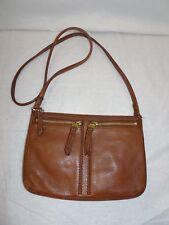 Fossil Brown Leather Crossbody Bag Small Zip Pockets Purse Shoulder Handbag
