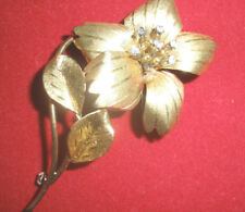 MAGNIFICENT ESTATE LARGE ANTIQUE ART DECO 18K DIAMOND FLOWER PENDANT/BROOCH
