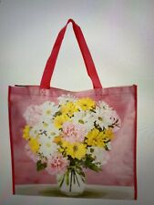 NEW TJ MAXX Shopping Bag Pink Yellow Floral Reusable Travel Tote Eco Friendly
