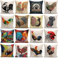 """18"""" New Cock Print Pillow Case Home Decor Cotton Linen Sofa Waist Cushion Cover"""