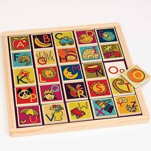 Battat Magnetic Alphabetic Tiles with Blackboard Wooden
