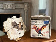 Vintage Miniature Dollhouse Strange Bat Aged Stacked Papers & Primitive Egg Box
