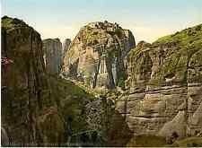Grèce. Thessalie. Meteora. Couvent St. Stefanos.  Photochrome original d'ép