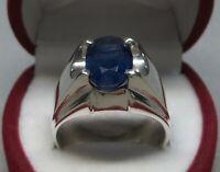 Natural Dark Deep Blue Sapphire Sterling Silver 925 Handmade Neelam Mens Ring