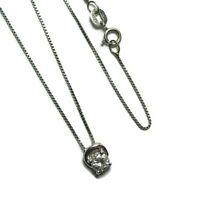 18K White Gold Diamond Pendant on 18K Chain 1.6 grams