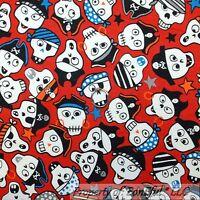 BonEful Fabric FQ Cotton Quilt Red White Blue Gothic Skeleton Skull Head Pirate