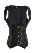 Black Jacquard 10 Steel Boned Waistcoat Underbust Corset Body Shaper Lingerie