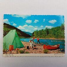 Postcard Vermilion Bay Canada Ontario FRESH FISH FRY Tent Canoe Fly Fishing Camp