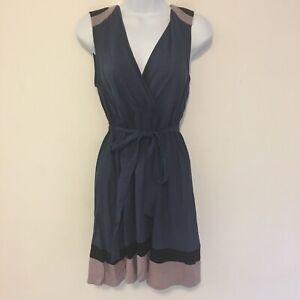 Ya Los Angeles Womens Dress sz L Navy Sleeveless A- Line Belt V Neck Modern KM38