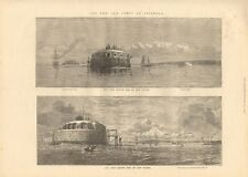 1872 ANTIQUE PRINT - HAMPSHIRE - THE NEW SEA FORTS AT SPITHEAD