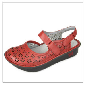 Alegria Shoes 38 Jemma Red Flats Floral Leather Clogs US 8 Perforated