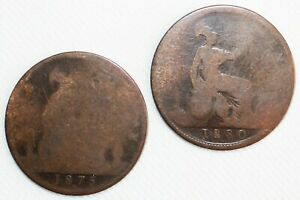 2 Coin Lot 1875 & 1880 Great Britain Copper Pennies 1c CULL Coins Worn Victoria
