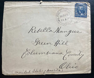 1899 Manila Philippines Vintage Cover To Colombiana County OH Usa