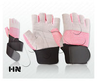 UNISEX PINK GYM GLOVES LONG WRIST STRAP CYCLING WEIGHT LIFTING SPORTS FITNESS