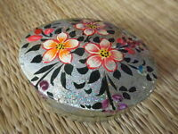 Hand painted kashmir papier mache oval shaped silver glitter floral trinket box