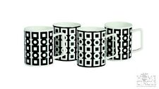 Salt & Pepper Black & White Set Of 4 Mugs Cups Kitchen Tea Coffee Porcelain
