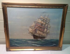Vintage Sailing Ship Oil Painting Gilted Gold Frame Picture signed by Fred