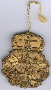 """Plakette der 12. IVV Wanderung ELZ 1980 mit Motiv """"Burg Neuschwanstein"""" Zust. II"""