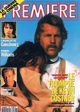 Premiere  N°168  Mars 1991:Charlotte gainsbourg Robert redford Kevin costner