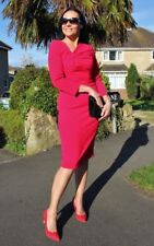 Red dress handmade Designer fitted unusual cuts lovely made size 10