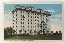 1920 NY Postcard Staten Island St. George Castleton Apartments building grounds