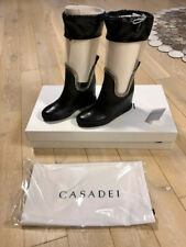Casadei 80mm Plexi Leather Wedge Boots EUR 38 Made in Italy