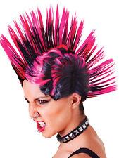 Punk Rock Mohican Parrucca Rosa Femminile Nero FANCY DRESS ACCESSORIO DEGLI ANNI OTTANTA'80 Adulto