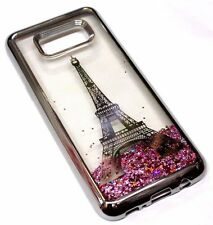 For Samsung Galaxy S8+ PLUS - SILVER EIFFEL TOWER Pink Glitter Liquid Water Case