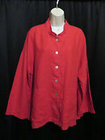Mosaic Art To Wear 100% Linen Tunic Jacket Top Red Pockets Button Front Size XL
