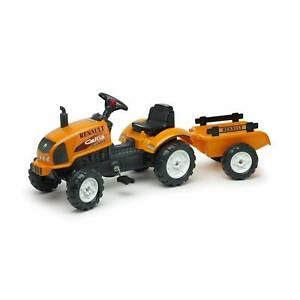 Tracteur à pédales Renault Renaud M pour enfants avec remorque et capot ouvrant.