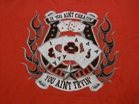 NOS vtg HANES Gambler T-Shirt red NO FEAR IF YOU AIN`T CHEATIN` YOU AIN`T TRYIN`