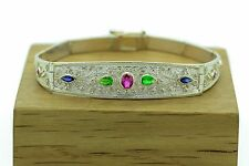 Rubies Emeralds Sapphires Bracelet Byzantine Style 925 Sterling Silver
