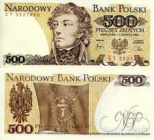 POLAND 500 Zlotych Banknote World Paper Money UNC Currency Pick p145d Bill Note