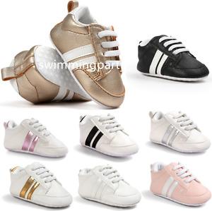 Toddler Pre-Walker Stripe Sneakers Newborn Infant Baby Boy Girl Pram Shoes 0-18