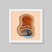 Venice Wall Art, layerd 3D effect Print Poster, famous cities wall art