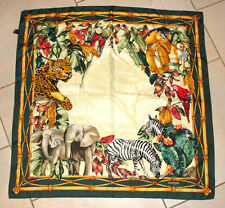 "SWAROVSKI OPTIK 100% SILK SCARF 34"" X 34"" ITALY ZOO ANIMALS ELEPHANT ZEBRA EUC"