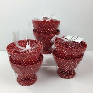 Red Kitchen Set of 6 Plastic 17oz Ice Cream Sundae Bowls Dessert Picnic Pool BBQ