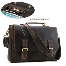 Retro Men's Leather 15''Laptop Briefcase Messenger Shoulder Bag Business Handbag