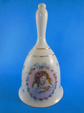 "Pretty 6.5"" Bell Fine Porcelain Friendship is for Keeps Little girl W puppy dog"