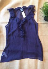 Ann Taylor Purple 100% Silk Blouse With Ruffle Vneck NWT MSRP $69.00
