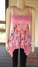 """""""Unbranded"""" Pinkish Peach Smocked Embellished Spag Strap Top~Size L (M)~N/W/O/T"""