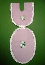 Dollhouse Miniature Bathroom Pink Floral Bath Mat Set