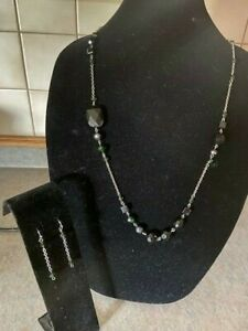 Lia Sophia Silver Tone Chain Faceted beads Necklace and Earring Set w.