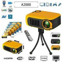 A2000 Cinema Theater 1080P HD Multimedia USB LED Projector AV TV HDMI FV Kit