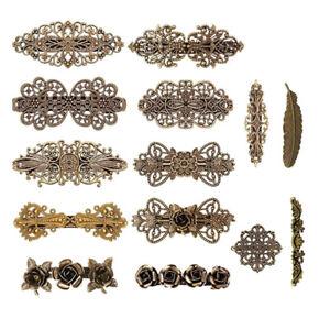 14 Vintage Hair Barrettes French Hair Clips Metal Bronze Hair Pins for Women Gir