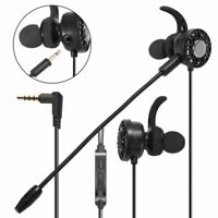 3.5mm Gaming In-Ear Stereo Headset Earphone Headphone Mic For PS4 Switch Black