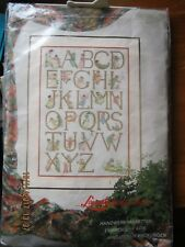 OOP LANARTE ALPHABET COUNTED CROSSSTITCH KIT LINEN THREADS CHART COLOUR PHOTO