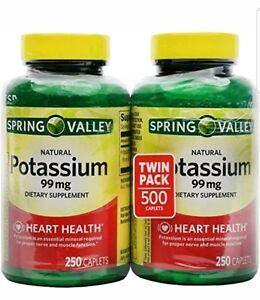 2pk Spring Valley Potassium Gluconate 99mg 250 Caplets Ea.