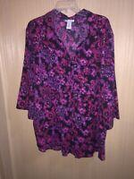 Women's Plus Size Catherines Pink & Black Button Down Shirt Size 3X 26/28W